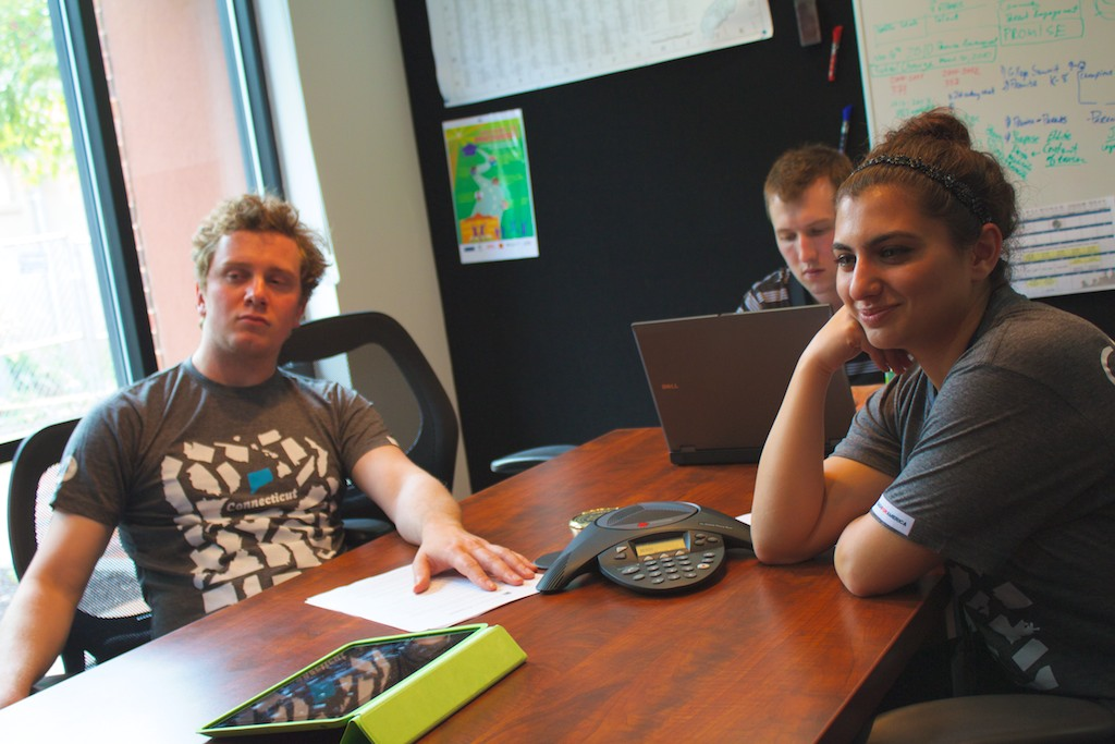 From left to right, Teach for America volunteers Gabriel Godwin, Michael Schlesinger, and Parisa Mazandarani